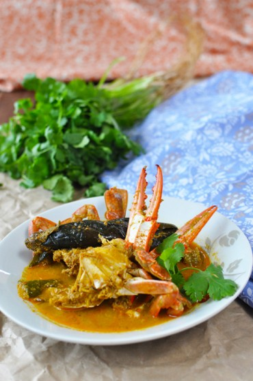 Spicy South Indian (Nagapattinam) Crab & Eggplant Curry